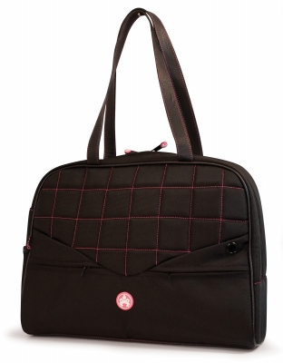 Mobile Edge ME-SUMO99130 13   Women's Laptop Purse- Black with Pink Stitching