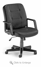 OFM 505-L-BLACK LEATHER Executive-Conference Chair - Low-Back  Leather - Black