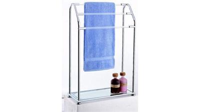 Organize It All 62443 Acrylic 3 Bar Towel Rack with Bottom Shelf