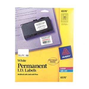 Avery Dennison Permanent I.D. Labels 1.25 Inch x 1.75 Inch 480 Label Multipurpose Label 6570