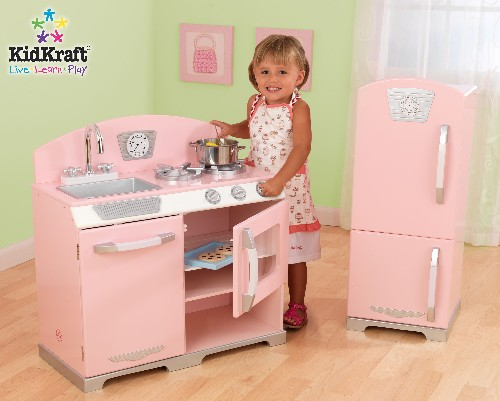 Kid Kraft 53160 Pink Retro Kitchen and Refrigerator