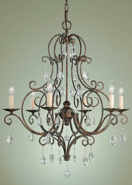 Feiss F1902/6MBZ Chateau Collection Mocha Bronze 6 Light Chandelier
