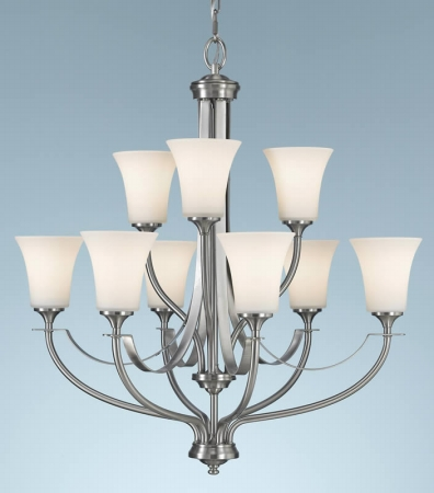 Feiss F2253/6+3BS Barrington Collection Brushed Steel 2-Tier 9-Light Chandelier