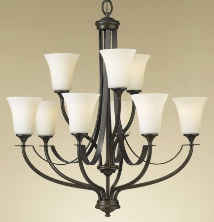 Feiss F2253/6+3ORB Barrington Collection Oil Rubbed Bronze 2-Tier 9-Light Chandelier