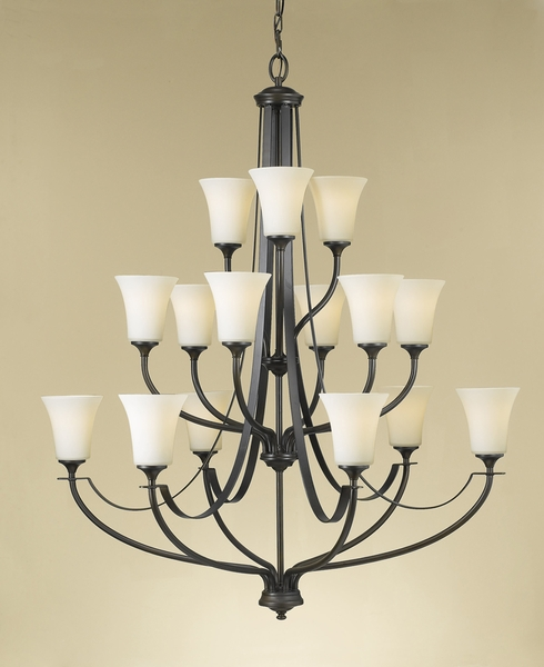 Feiss F2254/6+6+3ORB Barrington Collection Oil Rubbed Bronze 3-Tier 15-Light Chandelier