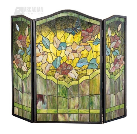 Meyda Tiffany 27237 40 Inch W X 34 Inch H Butterfly Fireplace Screen