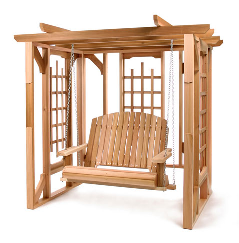 All Things Cedar PO72s Cedar Pergola Swing Set- Western Red Cedar