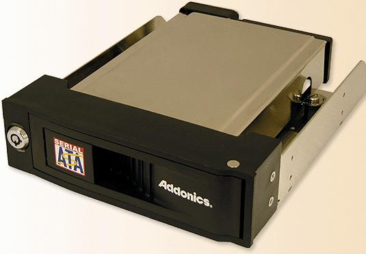 Addonics AESNAPMRSA Snap-In SATA Mobile Rack - Storage Enclosure - 1 x 3.5    - 1/3H Front Accessible Hot-swappable - Black