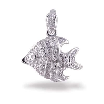 14K White Gold Diamond Gold Fish Pendant