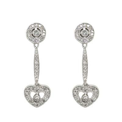 14K White Gold Diamond Circle and Heart Dangle Earrings