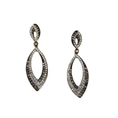14K Yellow Gold Diamond and Brown Diamond Earring