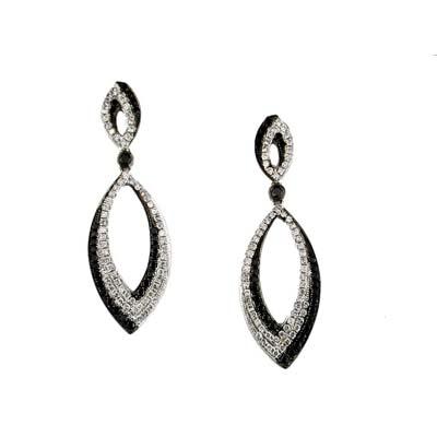 14K White Gold Diamond and Black Diamond Earring