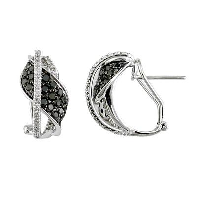 14K White Gold Diamond and Black Diamond Earrings