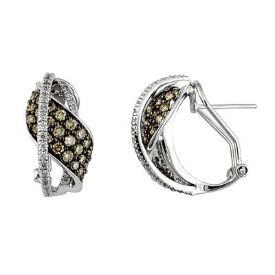 14K White Gold Diamond and Brown Diamond Earrings