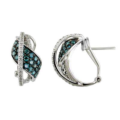 14K White Gold Diamond and Blue Diamond Earrings