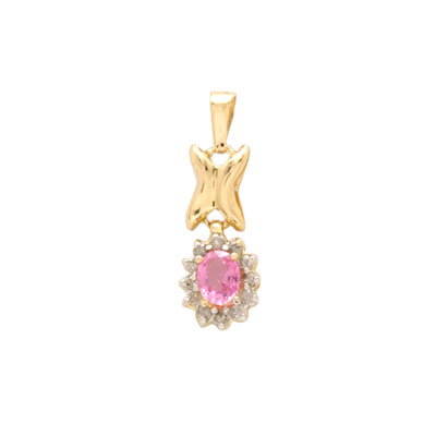 14K Gold Diamond and Pink Sapphire Pendant