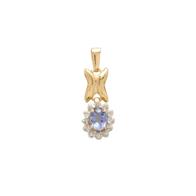 14K Gold Diamond and Tanzanite Pendant