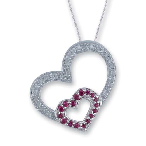 14K White Gold Diamond and Ruby Heart Pendant