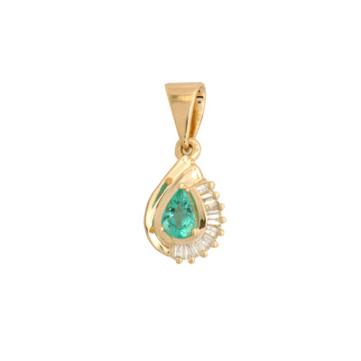 14K Gold Diamond and Emerald Pendant
