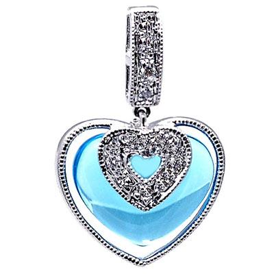 14K White Gold Diamond and Blue Topaz Heart Pendant
