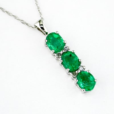 14K Gold Diamond and Three Stone Emerald Pendant