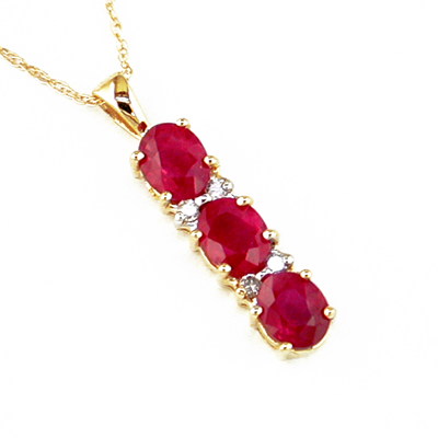 14K Gold Diamond and Three Stone Ruby Pendant