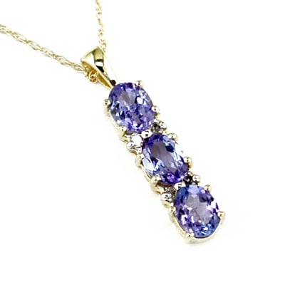 14K Gold Diamond and Three Stone Tanzanite Pendant