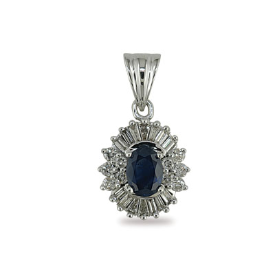 14K Gold Diamond and Oval Sapphire Pendant