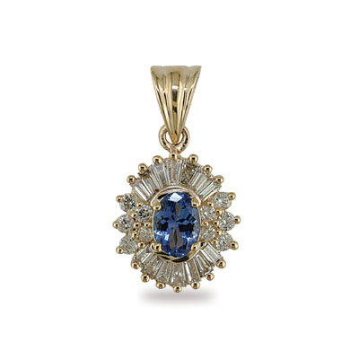 14K Gold Diamond and Oval Tanzanite Pendant