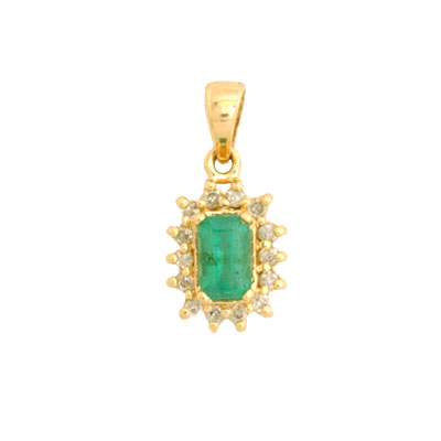 14K Emerald Cut Emerald and Diamond Pendant