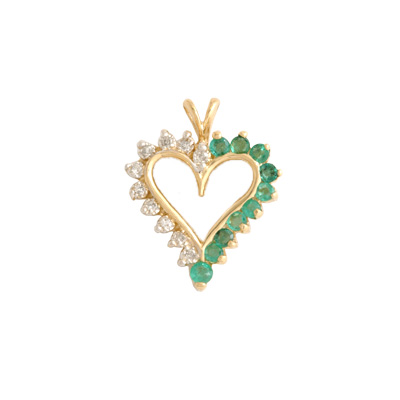 14K Gold Emerald and Diamond Heart Pendant