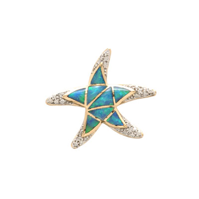 14K Gold Australian Opal and Diamond Star Pendant