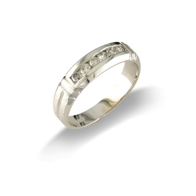 14K Gold Mens Diamond Wedding Band Size 10