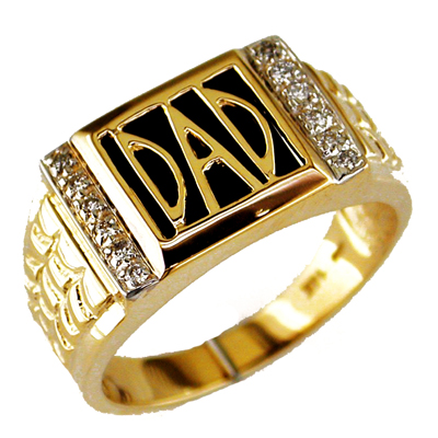 Mens 14K Yellow Gold Diamond and Onyx Dad Ring Size 10.5