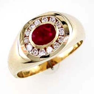 14K Gold Mens Ruby and Diamond Ring Size 10.5