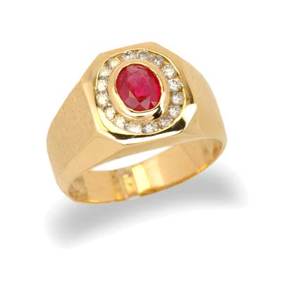 14K Yellow Gold Mens Ruby and Diamond Ring Size 10