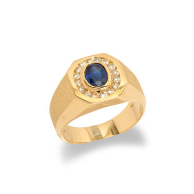 14K Gold Mens Sapphire and Diamond Ring Size 11.5