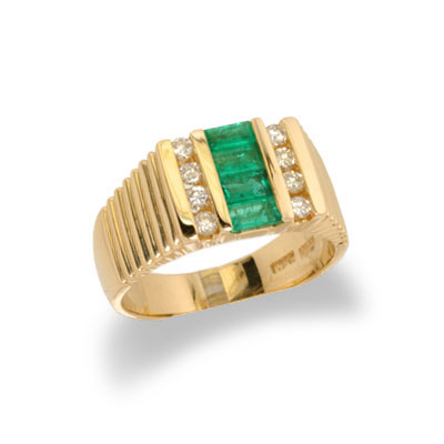 14K Yellow Gold Mens Emerald and Diamond Ring Size 10.5