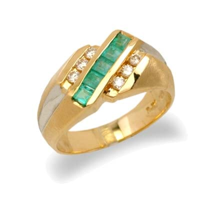 14K Gold Mens Emerald and Diamond Ring Size 10
