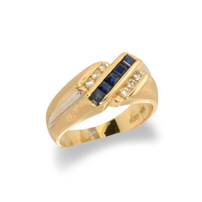14K Gold Mens Sapphire and Diamond Ring Size 10