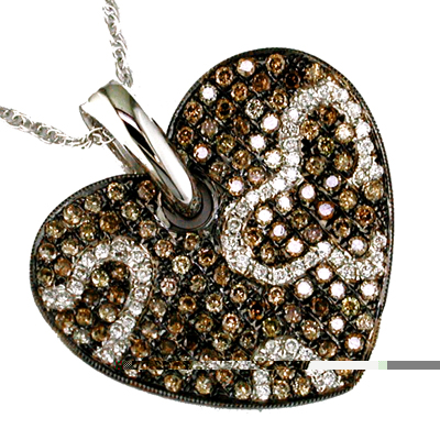 14K White Gold Heart Shaped Diamond and Brown Diamond Necklace