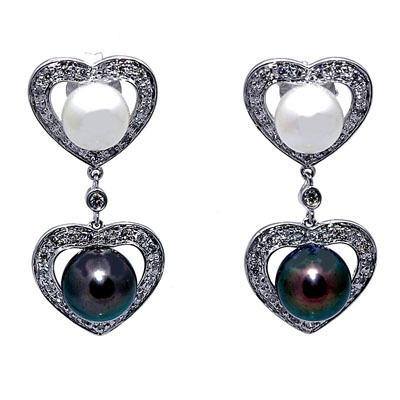 14K White Gold Diamond Double Heart Dangle Earrings With Black and White Cultured Pearls