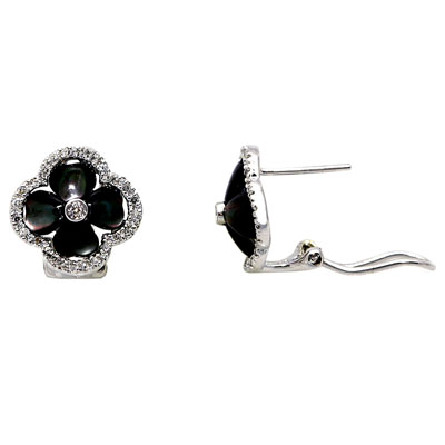 14K White Gold Diamond Earrings With Black Mother of Pearl