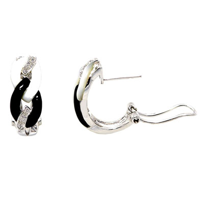 14K White Gold Diamond Earrings With Black and White Mother of Pearl