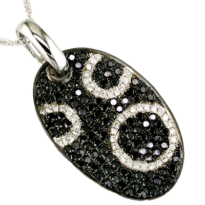14K Diamond and Black Diamond Necklace