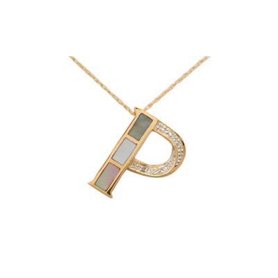 14K Gold Diamond and Mother of Pearl Initial P Necklace