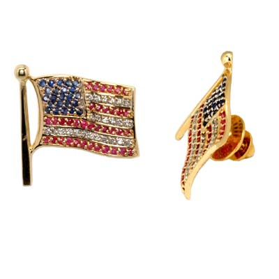 14K Yellow Gold Red White and Blue Flag Pin