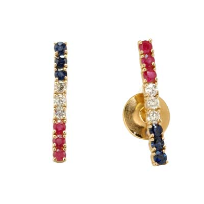 14K Yellow Gold Red White and Blue Pin