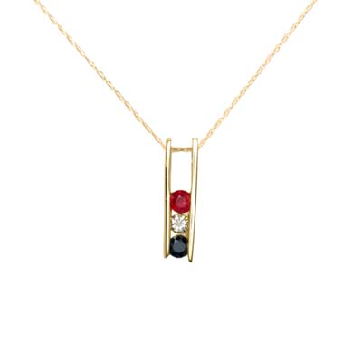 14K Yellow Gold Red White Blue Pendant