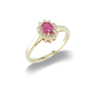 14K Yellow Gold Ruby and Diamond Ring Size 8
